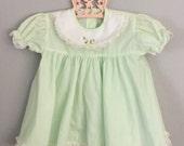 80s Mint Green Lacy Girls Dress 6-9 months