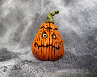 OOaK Slightly Cranky Jack Pumpkin Halloween Sculpture