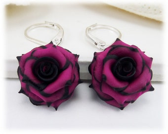 Black Pink Rose Lightweight Drop Earrings or Dangle Earrings Style