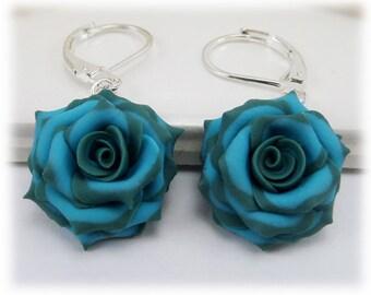Teal Tip Turquoise Rose Petal Earrings