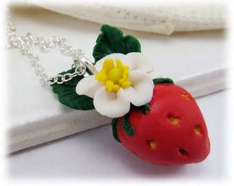 Strawberry Necklace - Strawberry Pendant Charm, Flowering Fruit Jewelry, Food Jewelry, Gardener Lover Gift