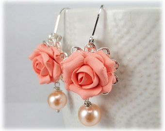 Light Coral Rose Pearl Earrings - Coral Rose Pearl Jewelry
