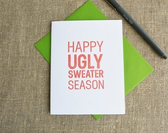 Letterpress Holiday Card - Happy Ugly Sweater Season - HPS-147