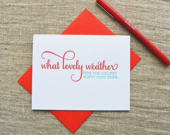 Letterpress Holiday Card - Puffy Coat - NQH-170