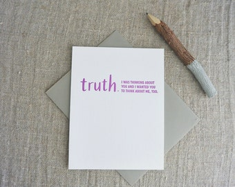 Letterpress Greeting Card - Friendship Card - TRUTHnote - Thinking About You - TRN-009