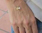 ON SALE Personalized Slave Bracelet, gold filled, delicate chain bracelet, stamped leaf hand chain bracelet, finger bracelet, Handflower