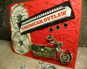 Motorcycle Biker Greeting Cards Assorted for Birthday Get Well Congrats Hand Stamped by a Biker