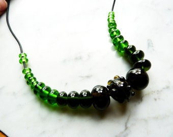 Lampwork  - Set of 27 bottle beads in Khaki, Emerald, and bright Green - upcycled, recycled, eco-friendly - Necklace