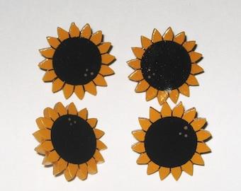 Sunflower Push Pins, Primitive Sunflowers, Folkart Sunflowers, Sunflower Theme, Sunflower Decor, Sunflower Thumb Tacks, Sunflower Memo Board