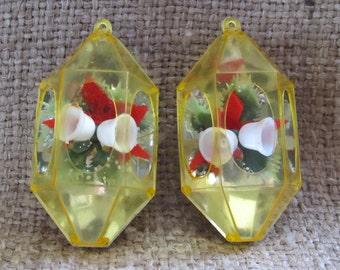 Vintage Pair Of Jewel Brite Christmas Ornaments, Ships Worldwide