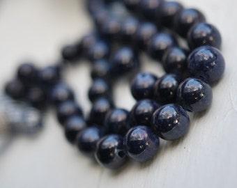 1/2 strand of smooth sapphire balls