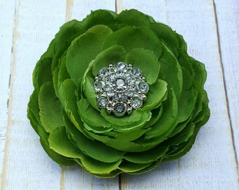 "Green Flower Clip Green Hair Clip 3.75"" Ranunculus Hair Clip Rhinestone Flower Clip Wedding Bridesmaid Flower Girl Green Hair Flower Brooch"