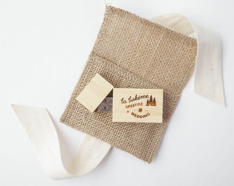 Pack of 10: Mini Burlap Flash Drive Pouch (8 Colors)