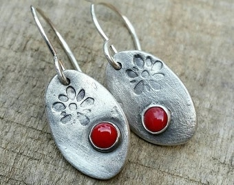 Red Coral Dangle Drop Sterling Silver Earrings - floral stamp, rustic, organic, artisan, cowgirl, boho jewelry - Handcrafted everyday wear