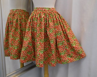 Handmade Skirt Strawberry Print Skirt Fifties Style Vintage Style Knee Length Cotton Skirt Garden Party Fruit Print Cotton Print Size Small
