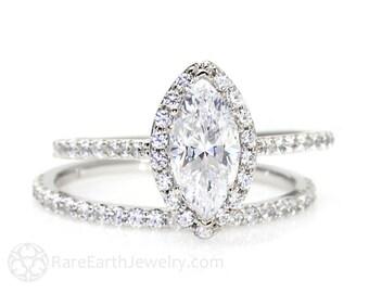 Marquise Moissanite Wedding Set Engagement Ring Diamond Halo Moissanite Ring Conflict Free 14K or 18K Gold