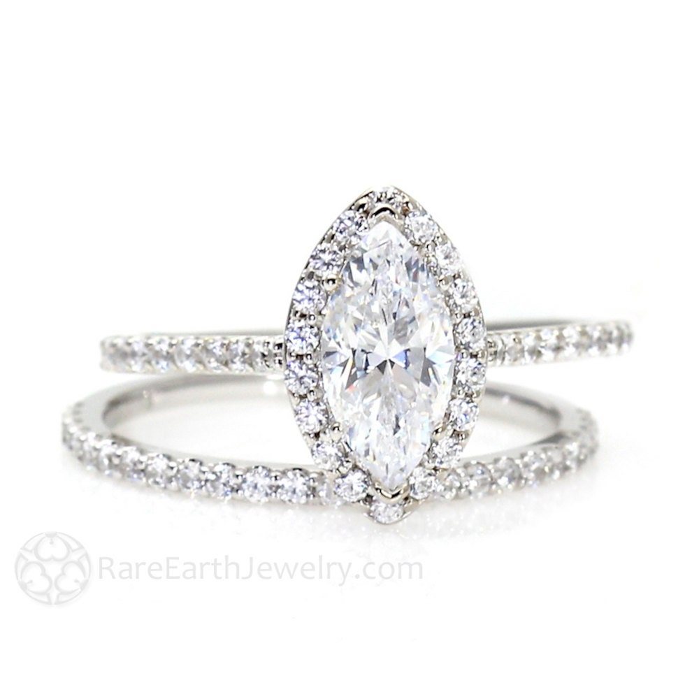 Marquise Moissanite Wedding Set Engagement Ring Diamond Halo