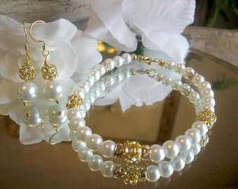 Swarovski Rhinestone and Pearl Gold Filled Bracelet and Earring Set -  Bride or Bridesmaid Jewelry Set/Wedding Jewelry