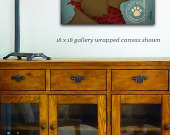 Cavapoo Dog Wine company illustration on stretched gallery wrapped canvas by Stephen Fowler