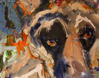 German shepherd - Original Abstract Acrylic Painting 11x14