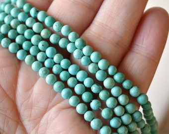 4mm Magnesite Beads in Light Turquoise Color Dyed Stabilized Faux Turquoise Robin's Egg Blue Stone Beads