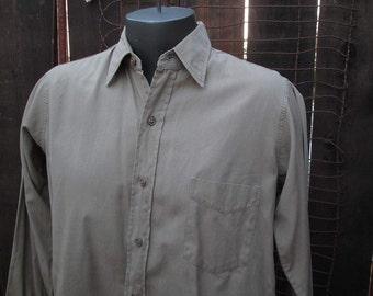 50s Vintage Army Shirt Khaki tan Cotton US Military uniform shirt 15 32