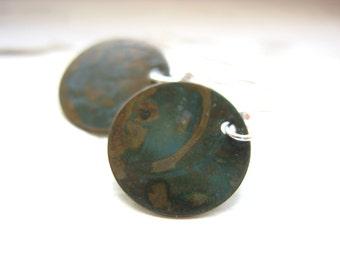 Copper Earrings, Handmade Earrings, Oxidized Copper Earrings, Copper Circle Earrings, Dangle Earrings, Drop Earrings, Copper Jewelry