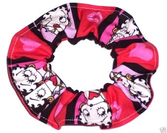 2 Betty Boop Hair Scrunchies by Sherry Scrunchie Ties Ponytail Holders