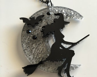 Texture WITCH laser cut acrylic necklace