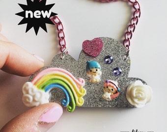 Sale!!! Twin Stars glitter cloud deco Necklace