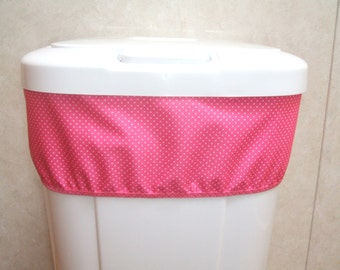 Diaper Pail Liner for Cloth Diapers, Reversable Band, Large Cloth Diaper Wet Bag, Trash Can Liner, Nursery Garbage Can Liner, Pink Polka Dot