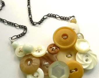 Christmas in July Sale Tan Brown and White Upcycled Vintage Button Jewelry - Statement Necklace