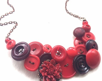 Statement Necklace Big Bold Chunky Jewelry Shades of Red Vintage Buttons