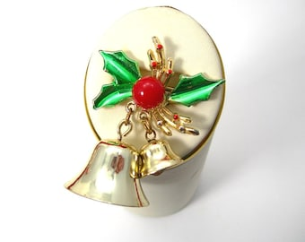 Christmas Bells Brooch Pin, Vintage Golden Bells Moving Clapper, Holly and Berry, Articulated Swinging Jingle Bells, 1970s Costume Jewelry
