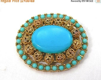 Vintage 60s Cathe' Tiered Brooch, Etruscan Style, Faux Persian Turquoise, Goldtone Filigree Balls Setting, Plastic Stones, Costume Jewelry