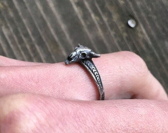 Tiny buffalo skull stacking ring