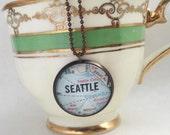 Seattle, Washington City Map Necklace~Vintage Map Vacation Souvenir Jewelry~Keepsake Travel Pendant~Moving Away Gift~Honeymoon Destination