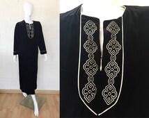 OSCAR De La RENTA Pink Label Black Velvet Robe Lounge Nightgown MUUMUU S