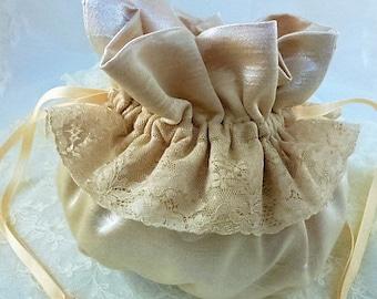 Wedding Soft peach Silk &  Lace Pouch - Bridal Purse -Communion