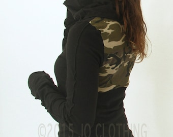 cowl top/ extra long sleeves with thumb holes/Black with Camouflage back detail/thumb hole top