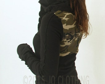 cowl top/ extra long sleeves with thumb holes/Black with Camouflage back detail/womens top