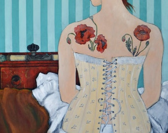 POPPY - Original Acrylic Painting, 24 x 36 inches