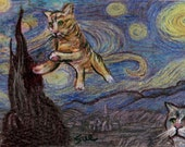 original art drawing aceo card Van Gogh Starry Night with flying cat