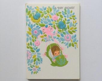 7 Embossed Baby Shower Invitations Vintage