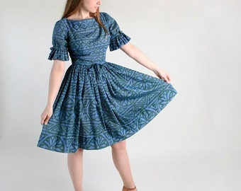ON SALE Vintage Jonathan Logan Dress - Lush Green and Blue Flower Burst Day Dress - Medium