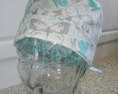 Tie Back Surgical Scrub Hat in Butterfly Shimmer METALLIC