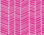 Cotton Fabric by the Yard, Herringbone fabric, True Colors fabric, Quilt fabric, Pink fabric, Hot Pink Herringbone fabric by Joel Dewberry
