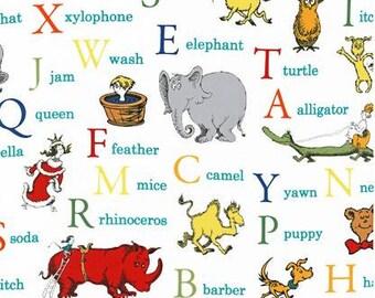 Dr Seuss fabric, Back to School fabric, Classroom Decor, ABC fabric, Cotton fabric by the yard, Seuss Alphabet in Celebration
