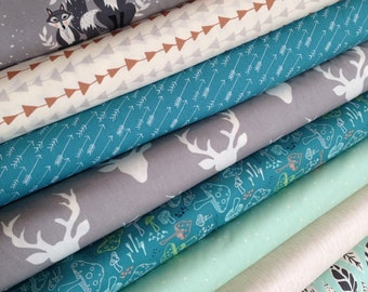 Hello Bear fabric bundle by Bonnie Christine for Art Gallery Fabrics, Deer fabric, Bundle of 8- You Choose the Cut, Free Shipping Available