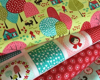 Fabric Bundle Red Riding, Little Red Fabric by Stacy Iest Hsu, Kids fabric, Fabric by the Yard, Choose the Cut, Fabric bundle of 4